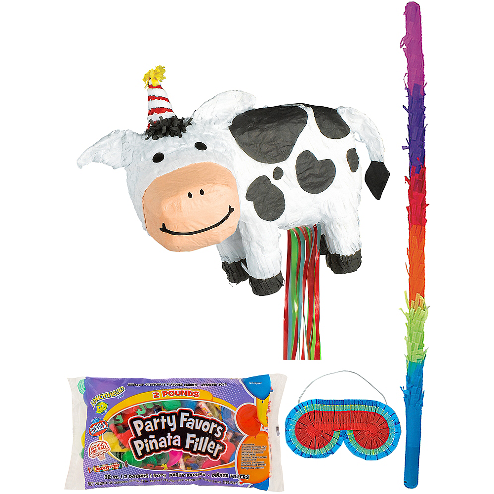 Birthday Cow Pinata Kit with Candy & Favors Image #1