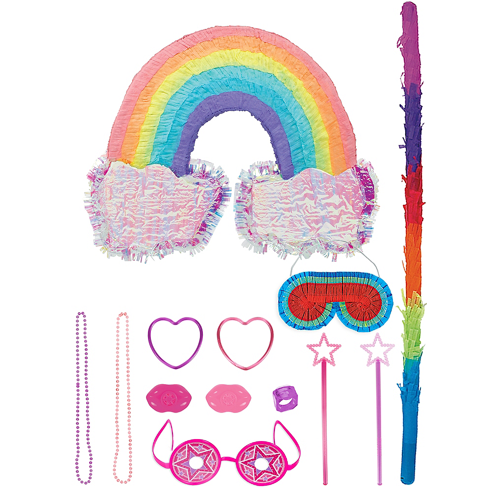 Rainbow with Clouds Pinata Kit with Favors Image #1