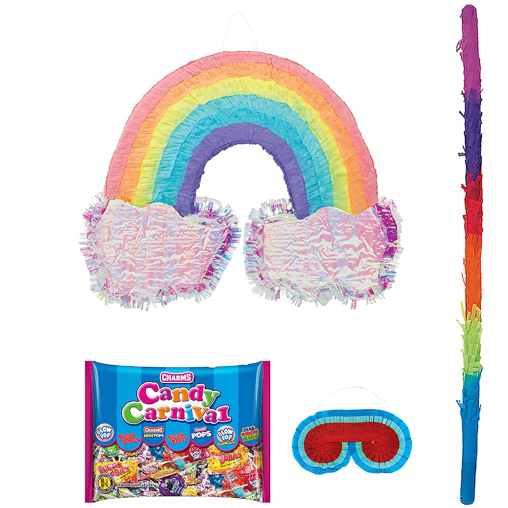 Rainbow with Clouds Pinata Kit with Candy Image #1
