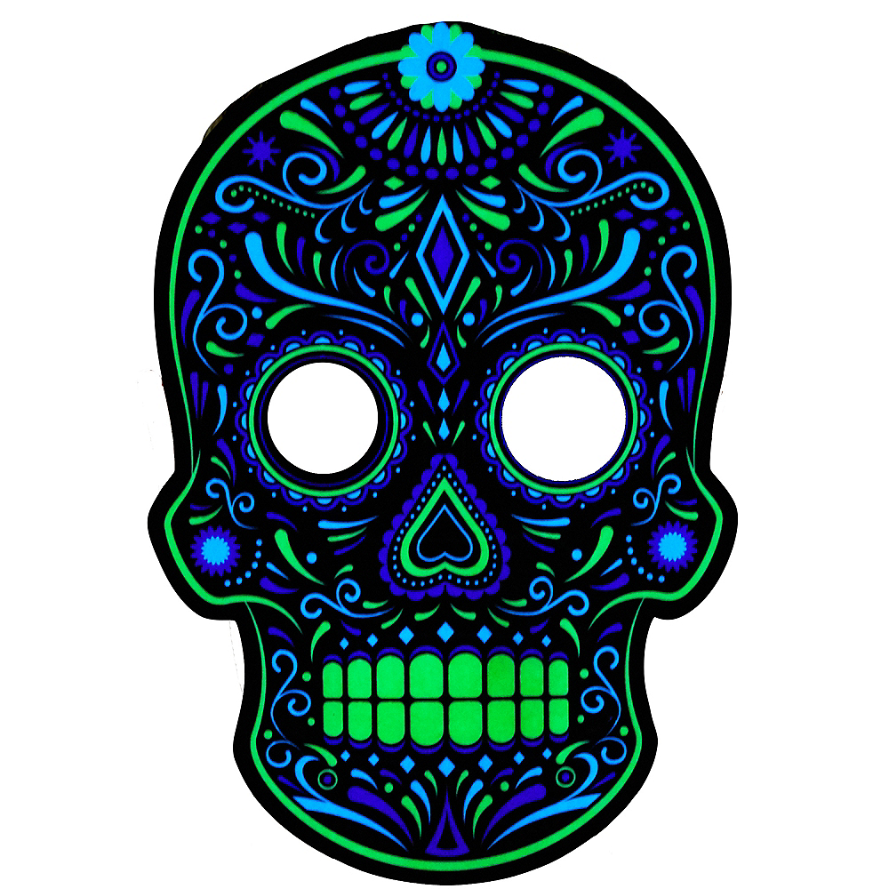 Light-Up Adult Day of The Dead Mask Image #1