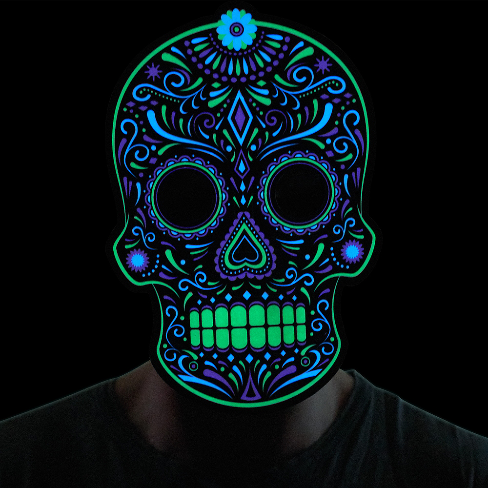 Light-Up Adult Day of The Dead Mask Image #2