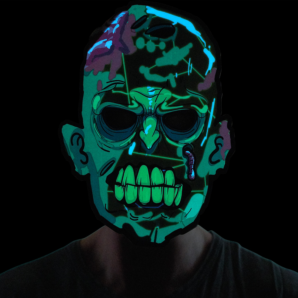 Light-Up Adult Zombie Mask Image #2