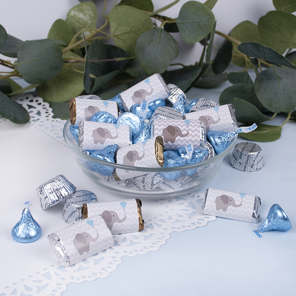 Blue Elephant Baby Shower Hershey's Miniatures, Kisses and JC Peanut Butter Cups 180pc Image #2