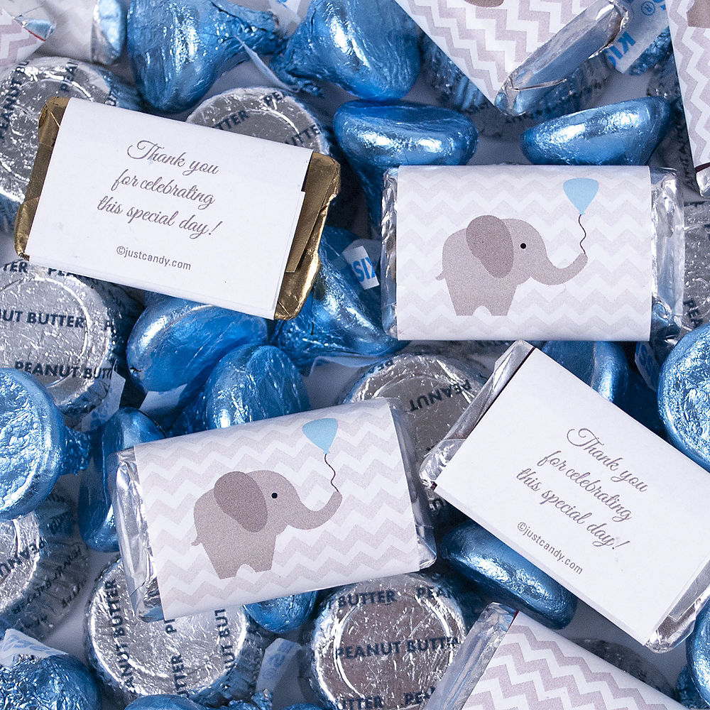 Blue Elephant Baby Shower Hershey's Miniatures, Kisses and JC Peanut Butter Cups 180pc Image #3