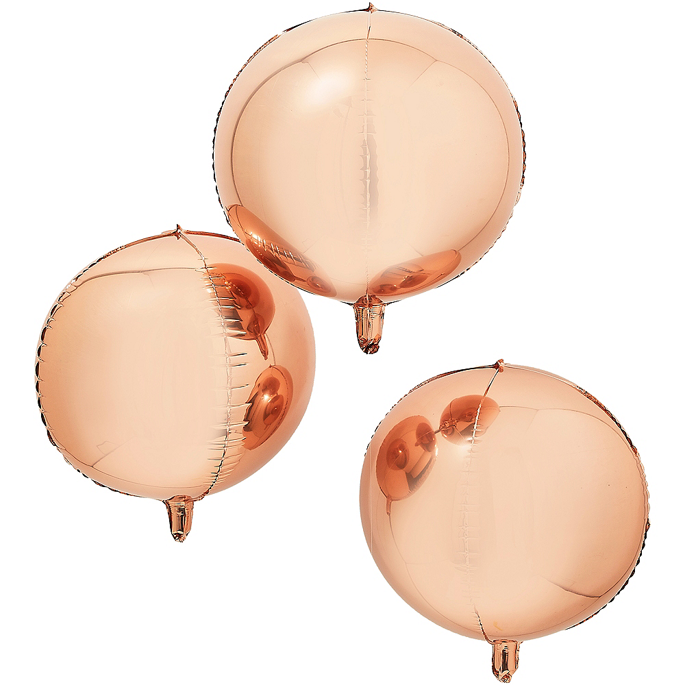 Ginger Ray Rose Gold Orb Balloons 3ct Image #1