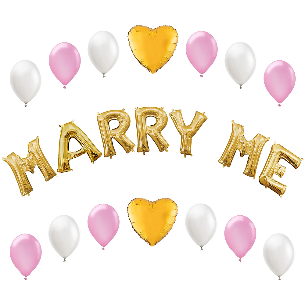13in Air-Filled Gold Marry Me Letter Balloon Kit Image #1