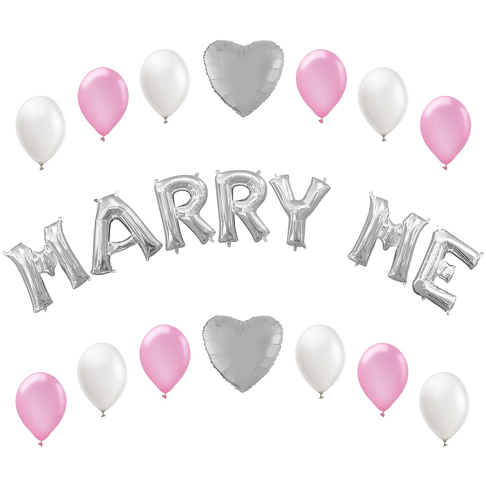 13in Air-Filled Silver Marry Me Letter Balloon Kit Image #1