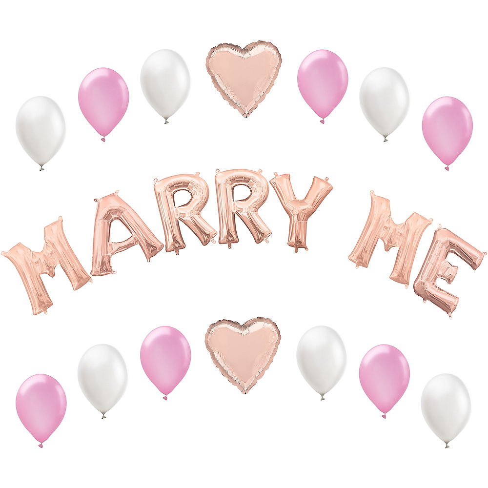 Air-Filled Rose Gold Marry Me Letter Balloon Kit Image #1