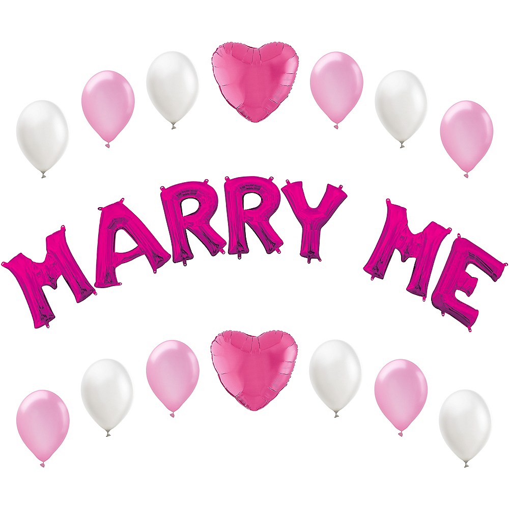 Air-Filled Pink Marry Me Letter Balloon Kit Image #1