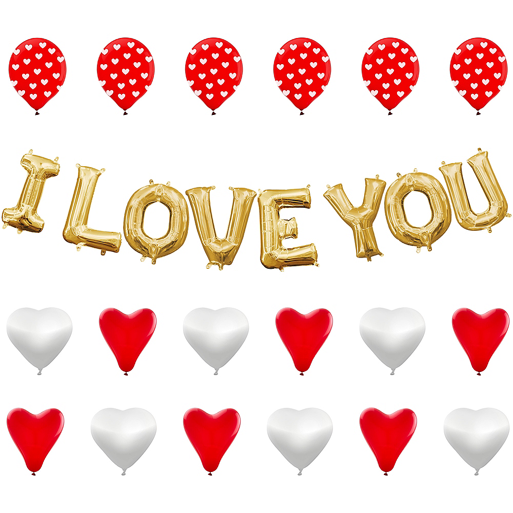 13in Air-Filled Gold I Love You Letter Balloon Kit Image #1