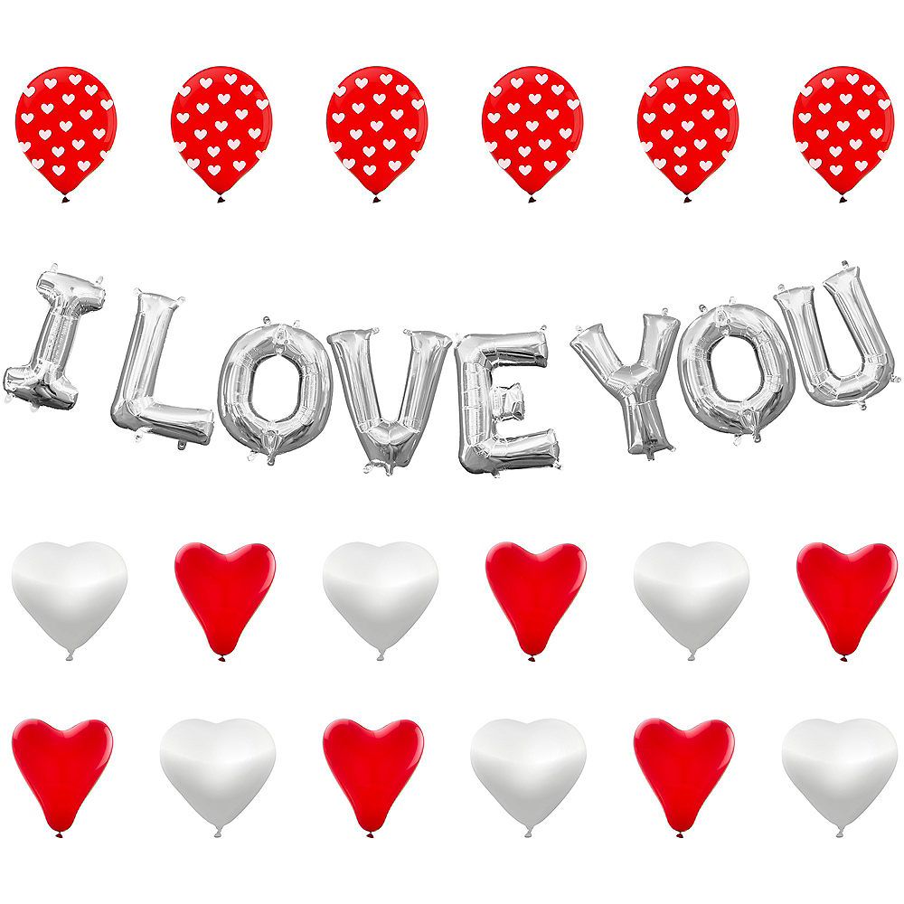 13in Air-Filled Silver I Love You Letter Balloon Kit Image #1