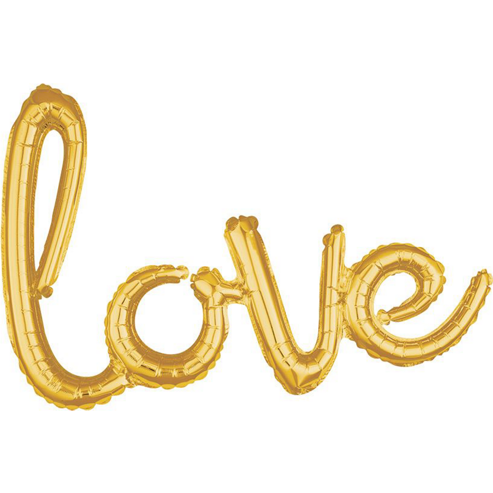 21in Air-Filled Gold Love Cursive Letter Balloon Kit Image #2