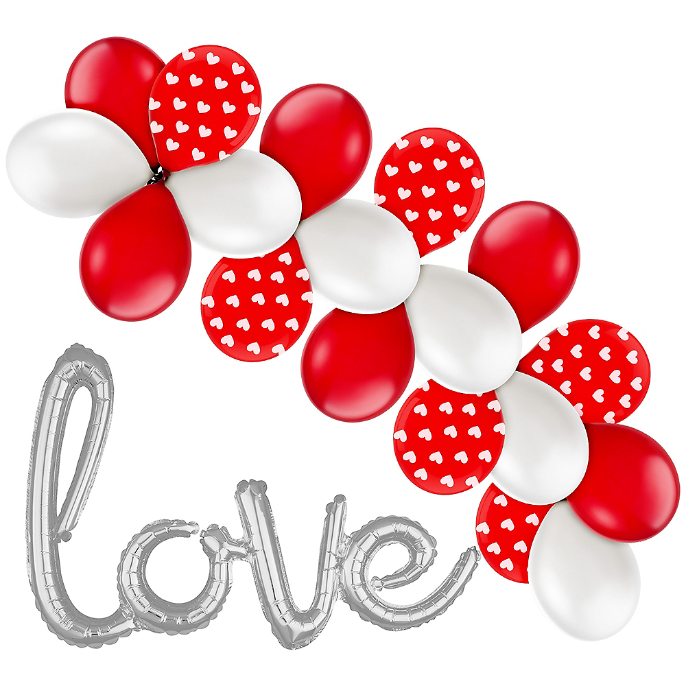 21in Air-Filled Silver Love Cursive Letter Balloon Kit Image #1