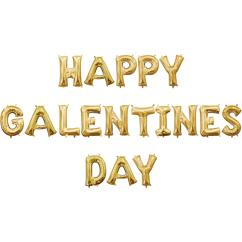 13in Air-Filled Gold Happy Galentines Day Letter Balloon Kit Image #1