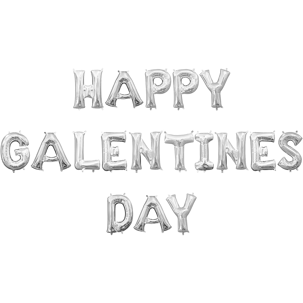 13in Air-Filled Silver Happy Galentines Day Letter Balloon Kit Image #1