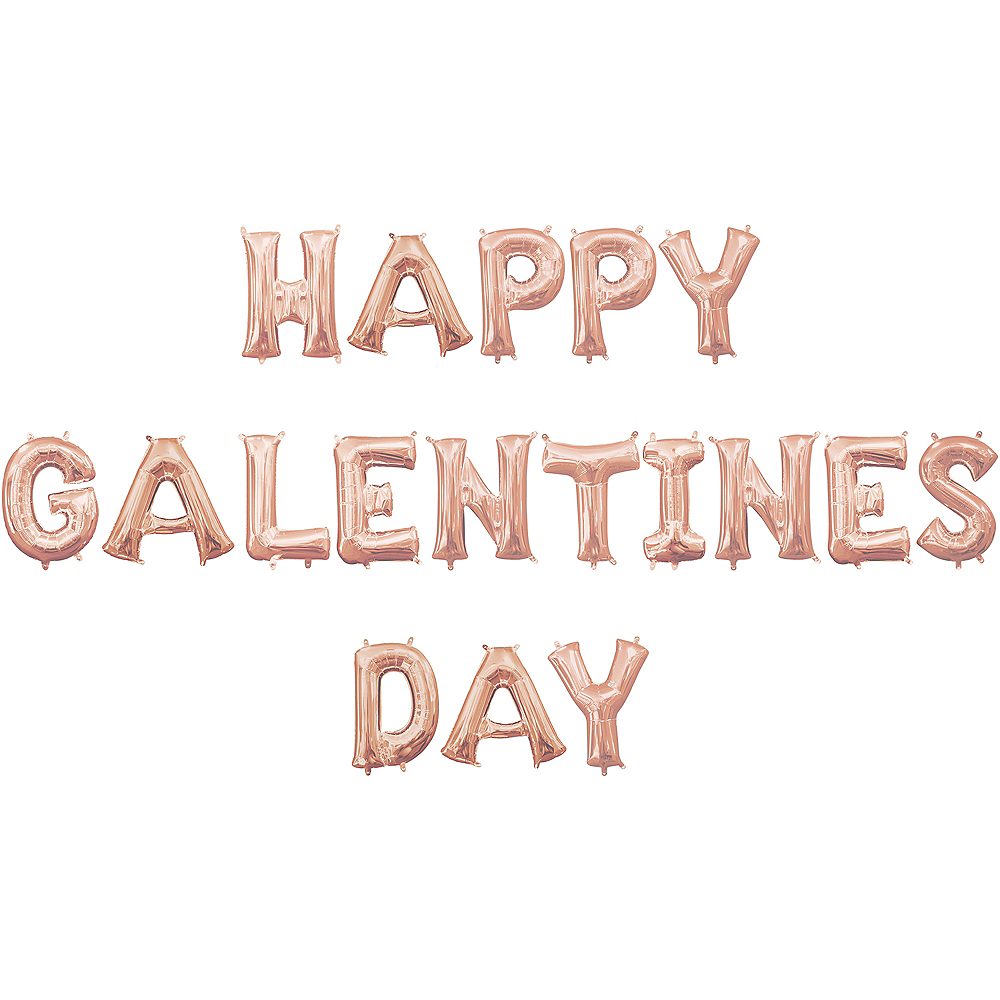 Air-Filled Rose Gold Happy Galentines Day Letter Balloon Kit Image #1