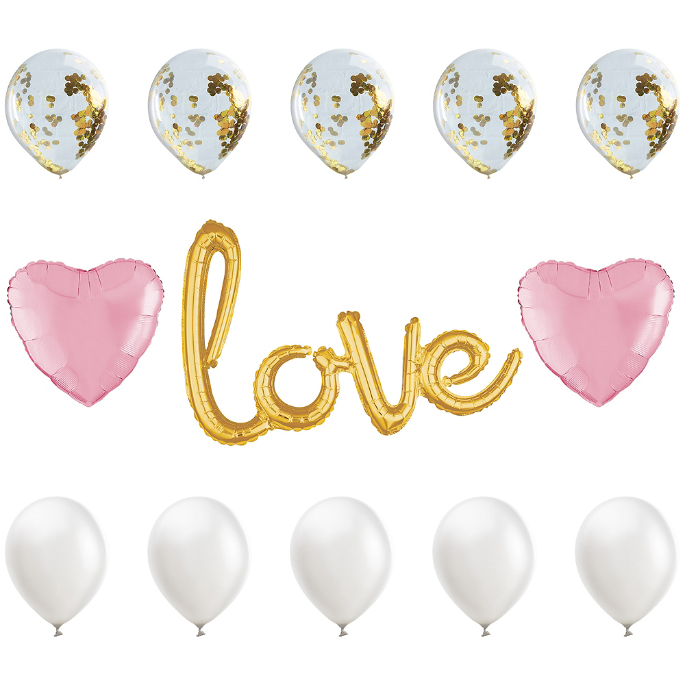 21in Air Filled Gold Amp Pink Love Cursive Letter Balloon