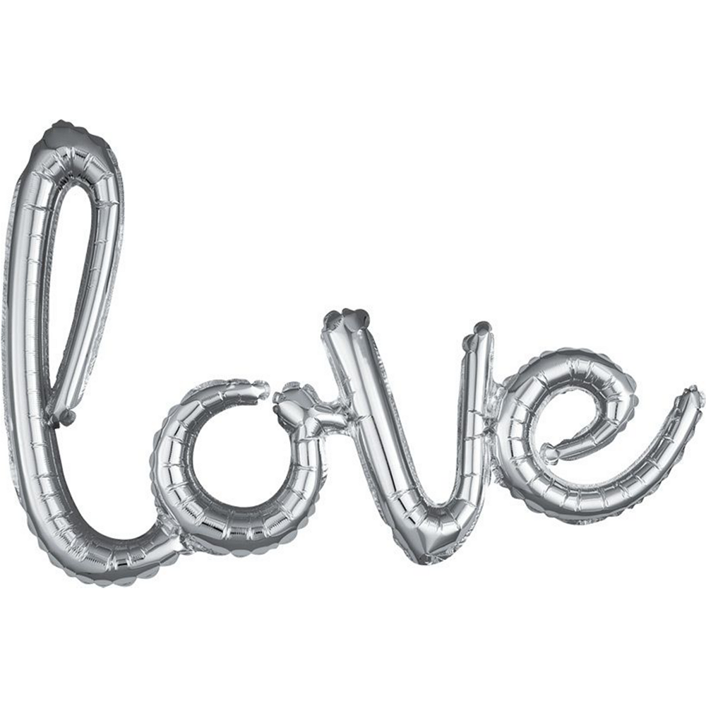 21in Air-Filled Pink & Silver Love Cursive Letter Balloon Kit Image #2