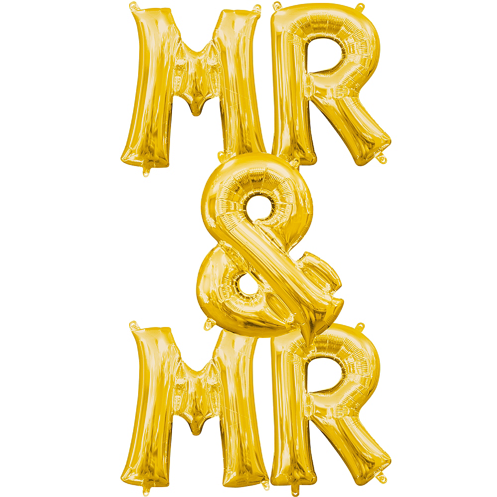 13in Air-Filled Gold Mr. & Mr. Letter Balloon Kit Image #1