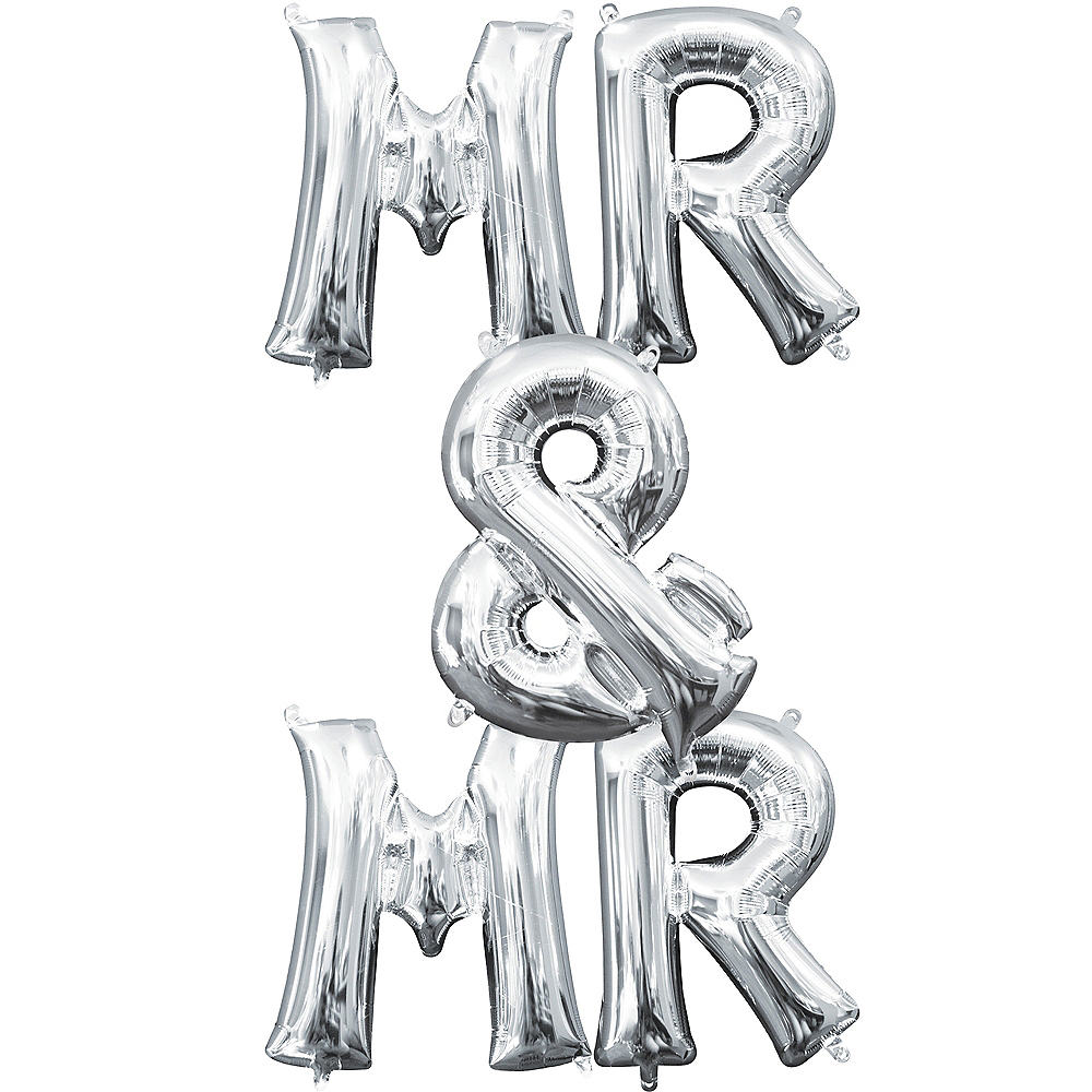 13in Air-Filled Silver Mr. & Mr. Letter Balloon Kit Image #1