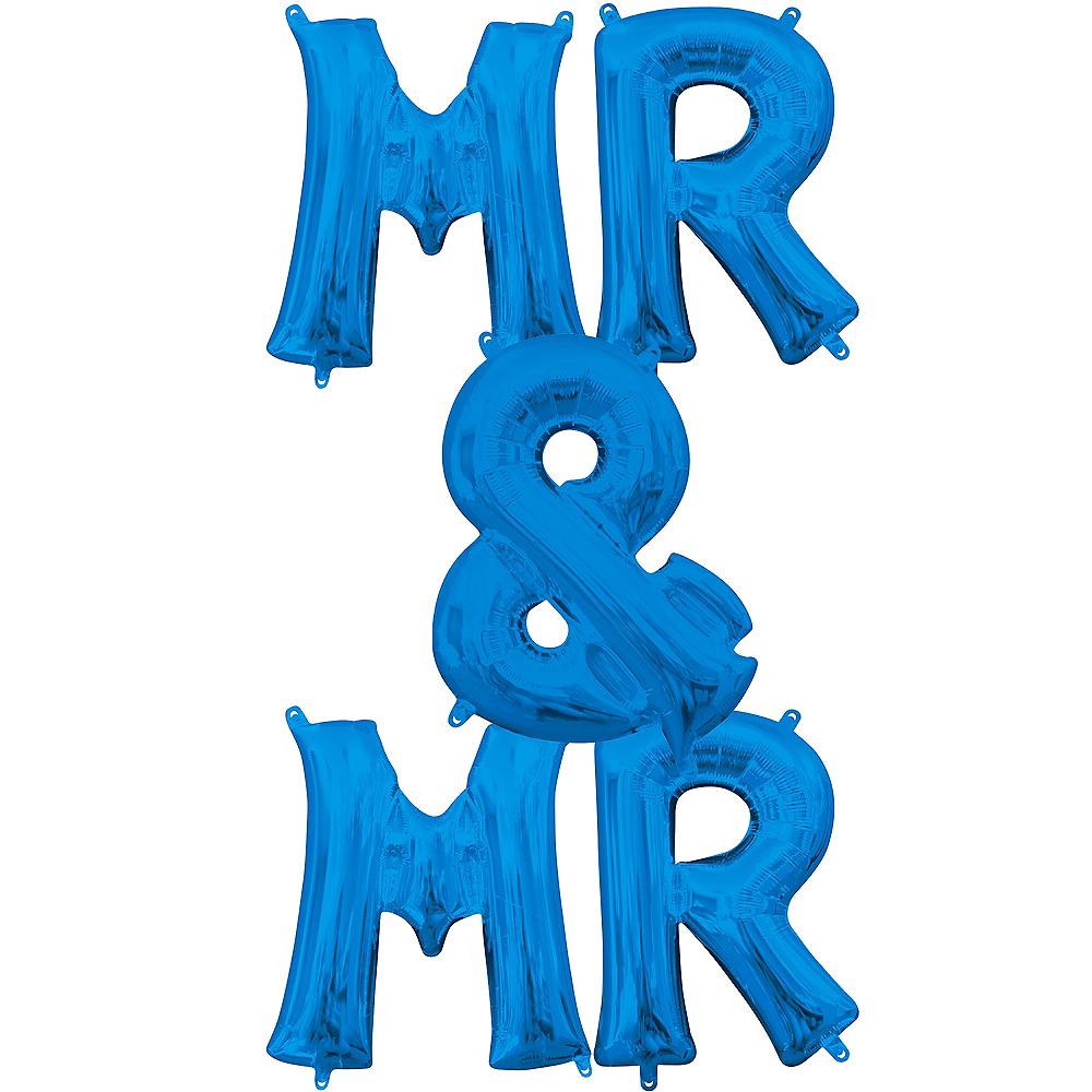 13in Air-Filled Blue Mr. & Mr. Letter Balloon Kit Image #1
