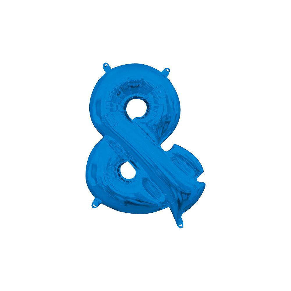 13in Air-Filled Blue Mr. & Mr. Letter Balloon Kit Image #4