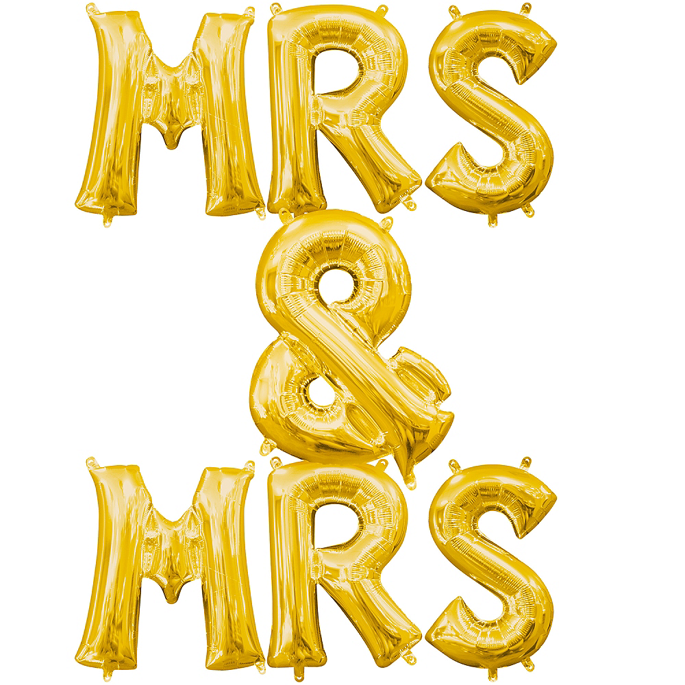 13in Air-Filled Gold Mrs. & Mrs. Letter Balloon Kit Image #1