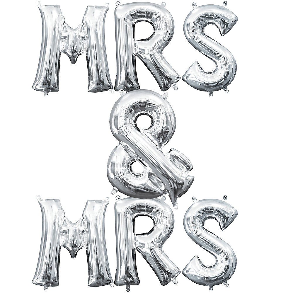 13in Air-Filled Silver Mrs. & Mrs. Letter Balloon Kit Image #1