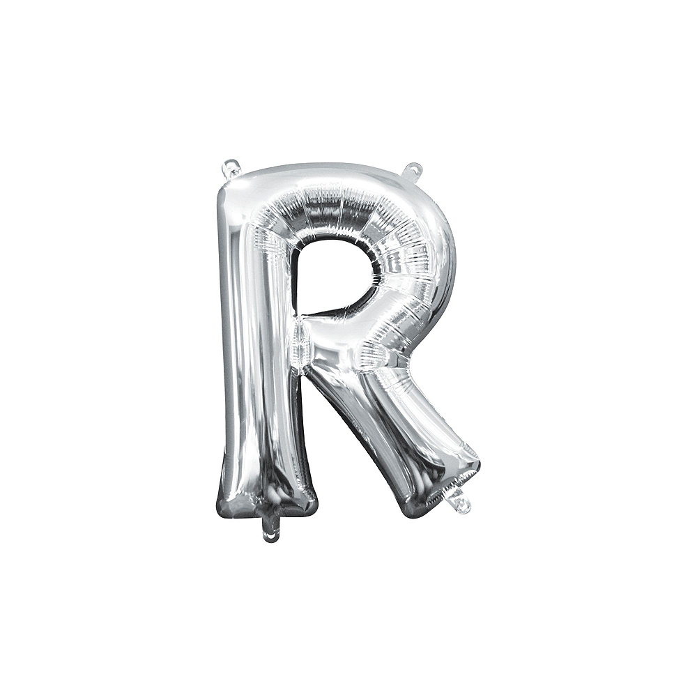 13in Air-Filled Silver Mrs. & Mrs. Letter Balloon Kit Image #3