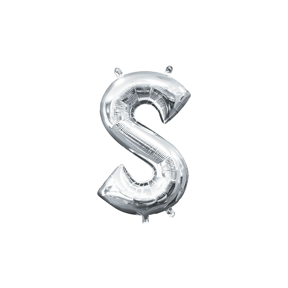 13in Air-Filled Silver Mrs. & Mrs. Letter Balloon Kit Image #4