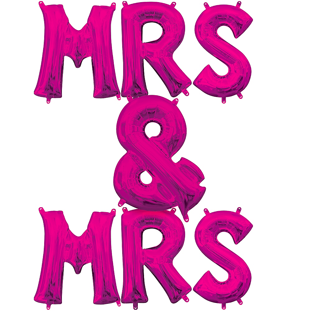 13in Air-Filled Pink Mrs. & Mrs. Letter Balloon Kit Image #1