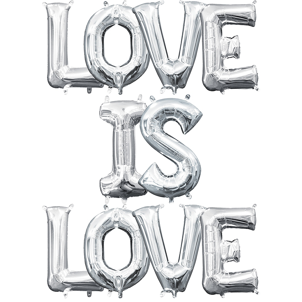 13in Air-Filled Silver Love is Love Letter Balloon Kit Image #1