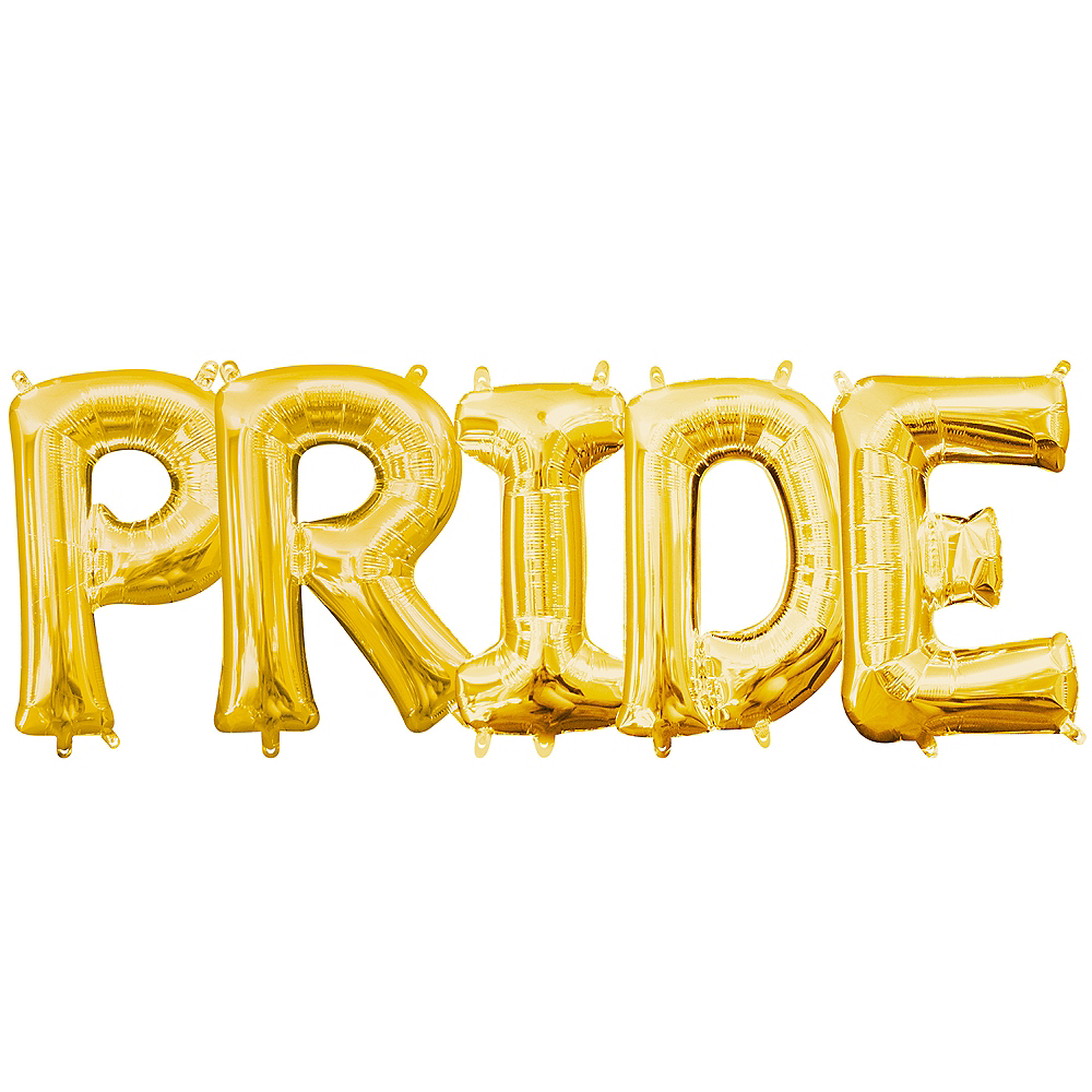 13in Air-Filled Gold Pride Letter Balloon Kit Image #1
