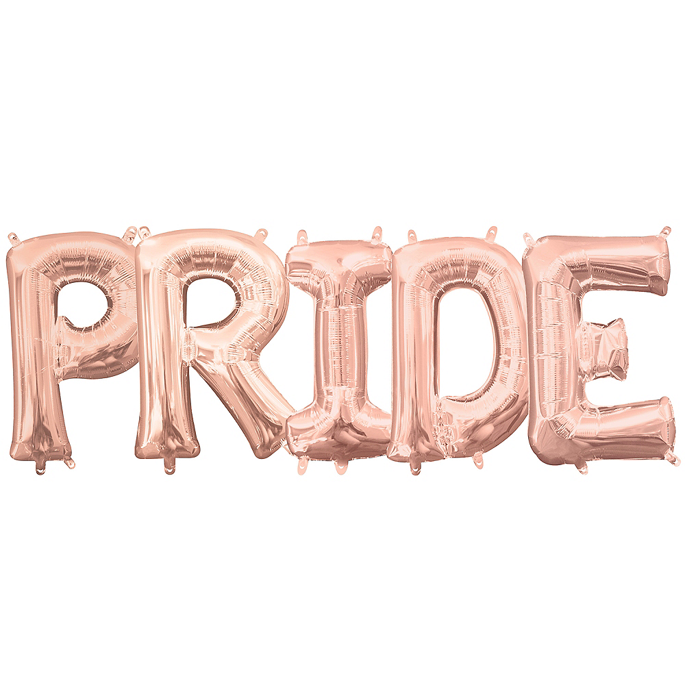 13in Air-Filled Rose Gold Pride Letter Balloon Kit Image #1