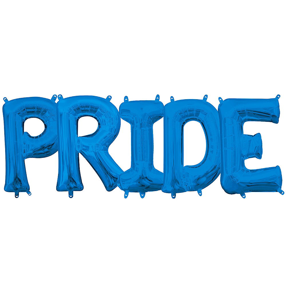 13in Air-Filled Blue Pride Letter Balloon Kit Image #1