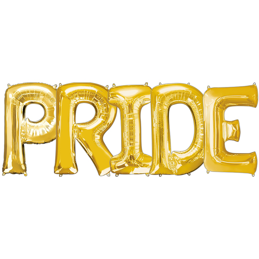 34in Gold Pride Letter Balloon Kit Image #1