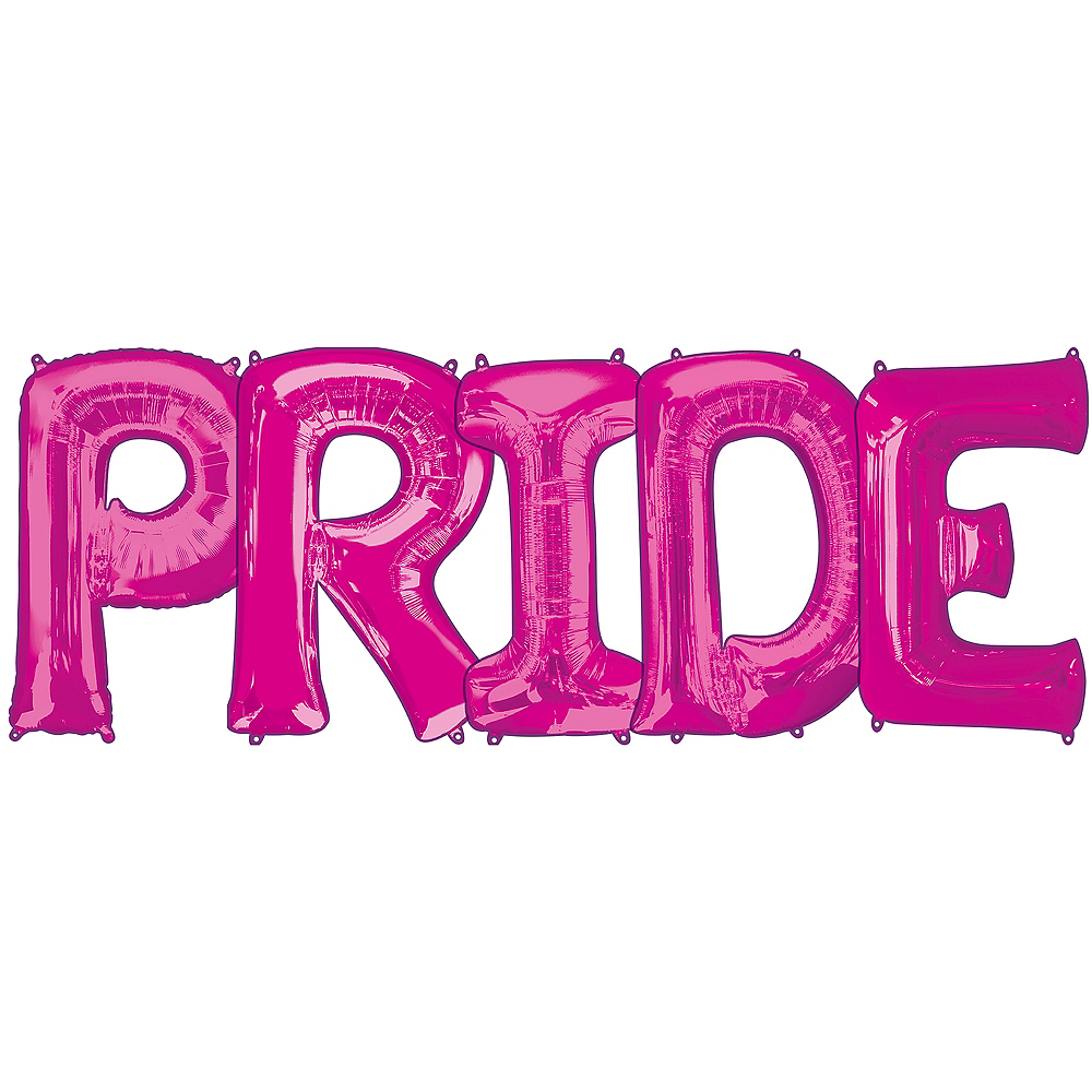 34in Pink Pride Letter Balloon Kit Image #1