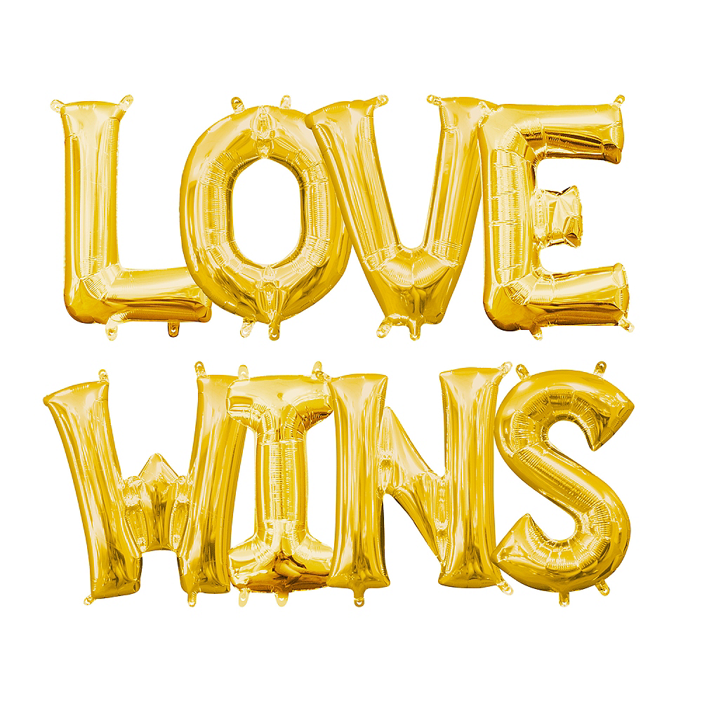 13in Air-Filled Gold Love Wins Letter Balloon Kit Image #1