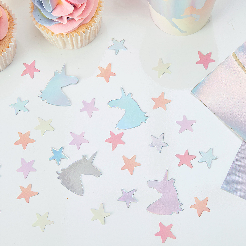 Ginger Ray Iridescent, Pink & White Star Confetti Image #1