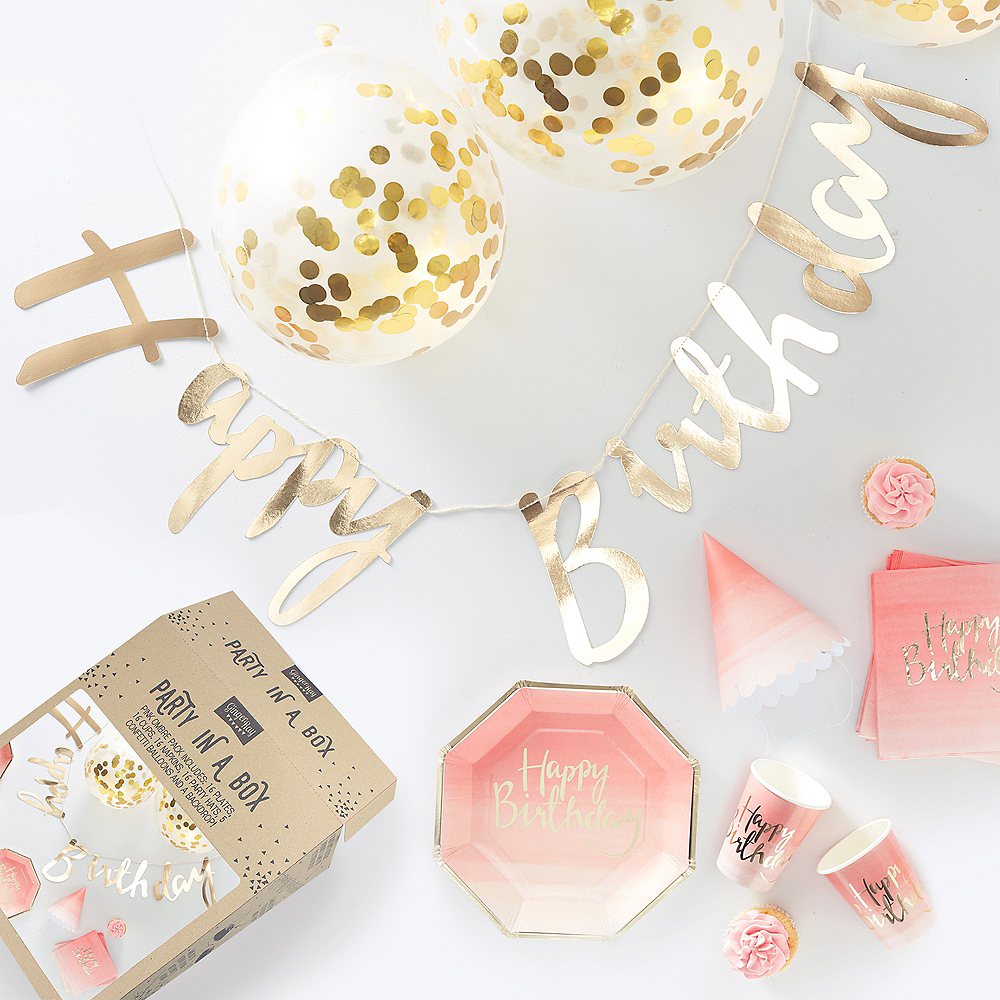 Ginger Ray Metallic Gold & Pink Party in a Box Kit 70pc Image #1