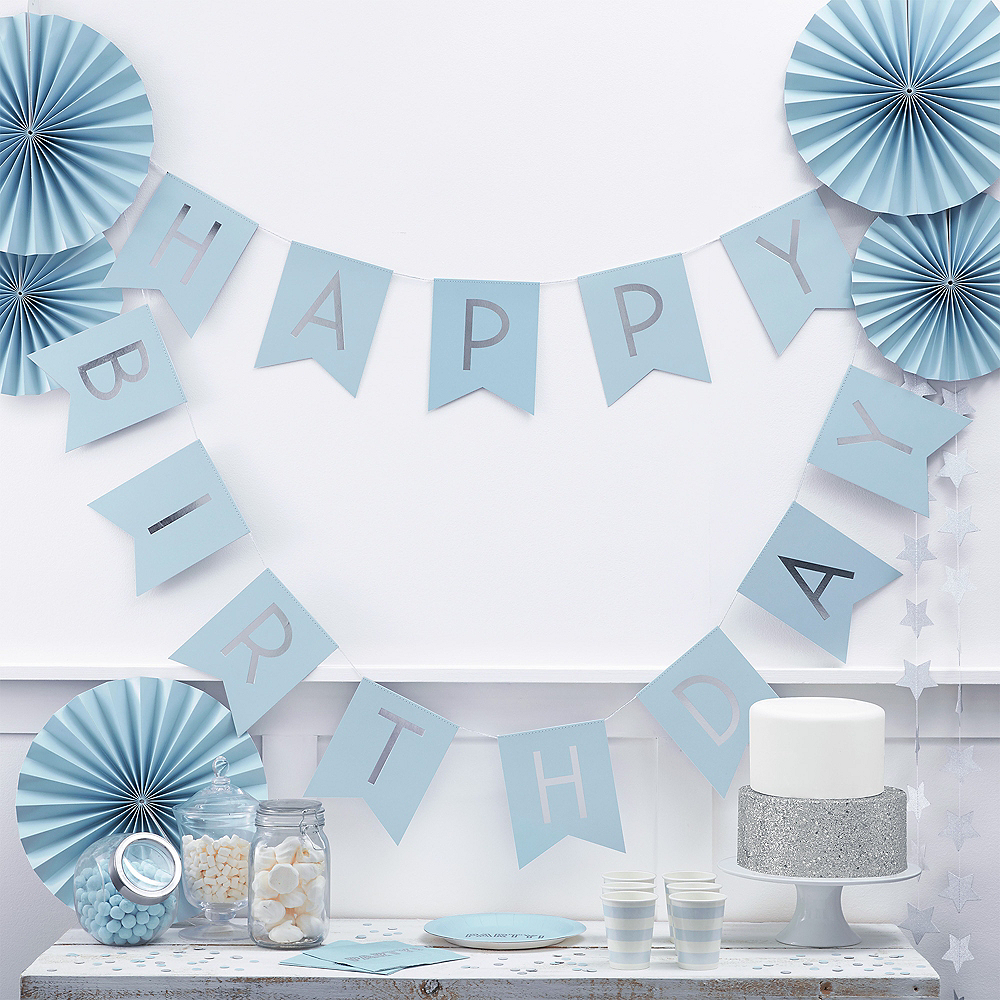 Ginger Ray Blue & Metallic Silver Happy Birthday Pennant Banner Image #1