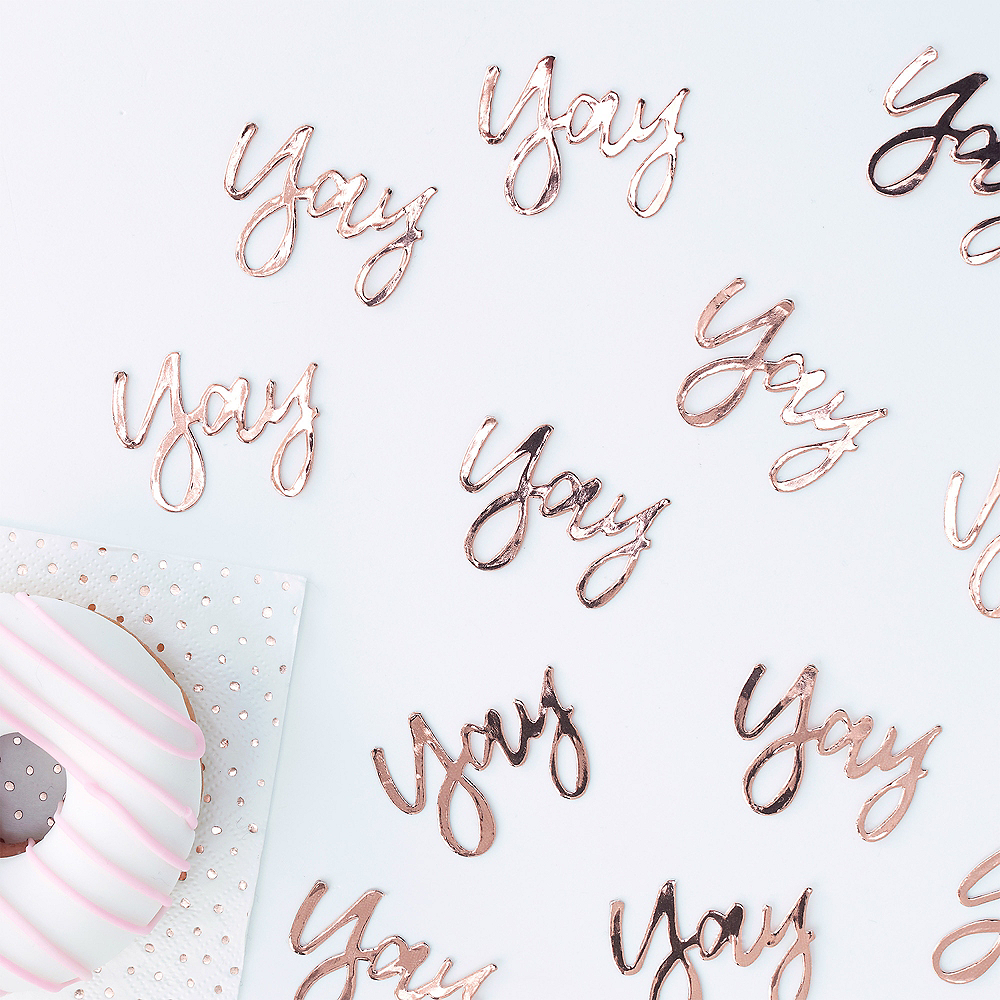 Ginger Ray Metallic Rose Gold Yay Table Confetti Image #1
