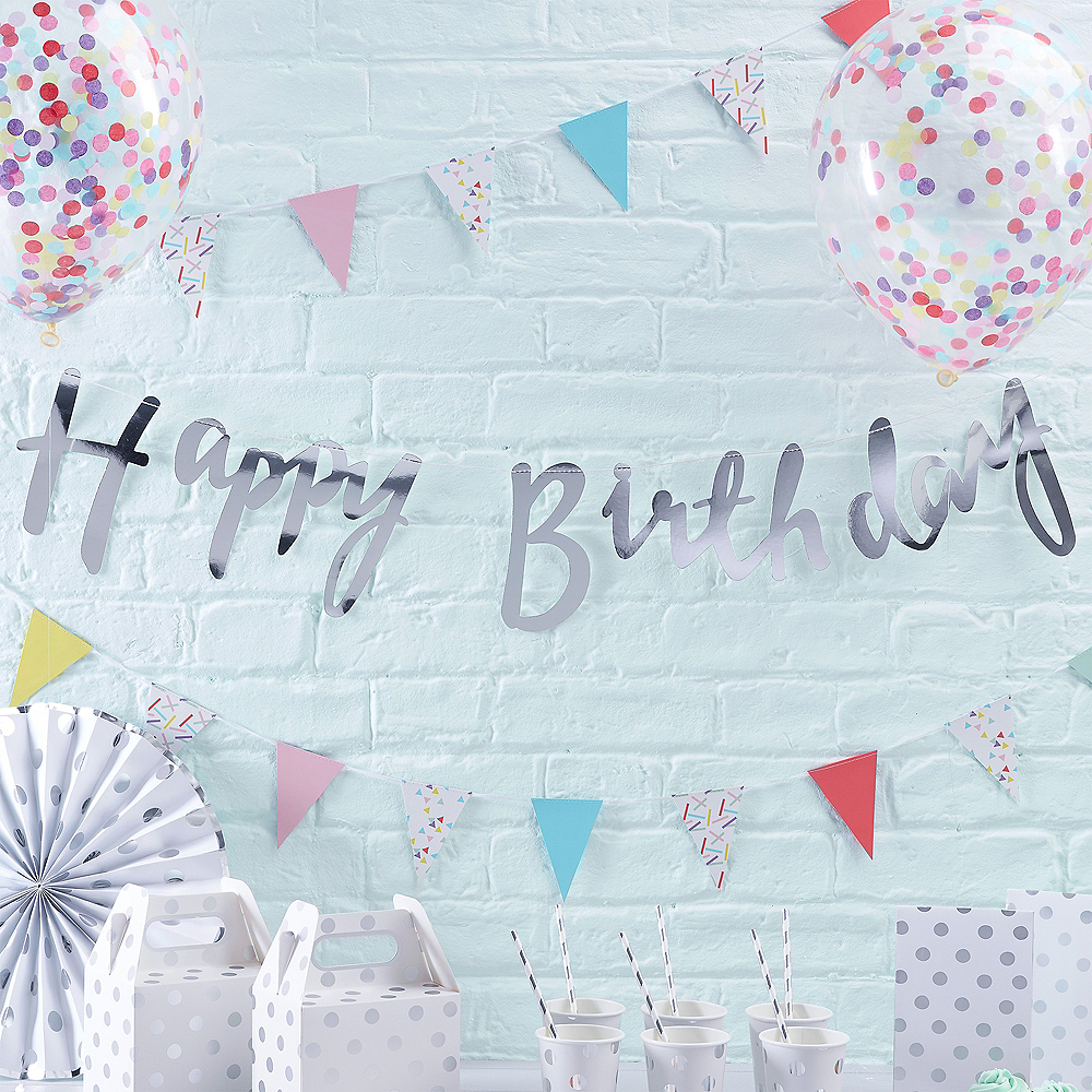 Ginger Ray Metallic Silver Happy Birthday Banner Image #1