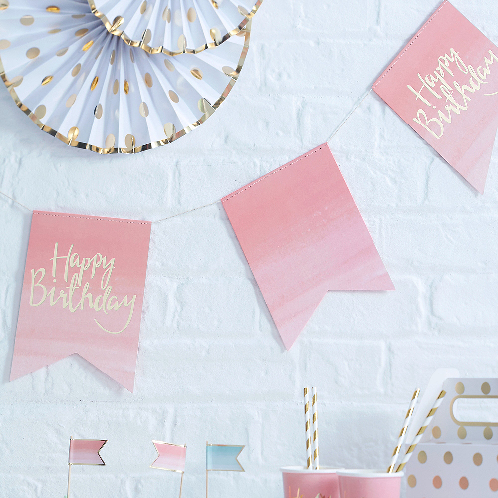 Ginger Ray Pink Ombre Happy Birthday Pennant Banner Image #1