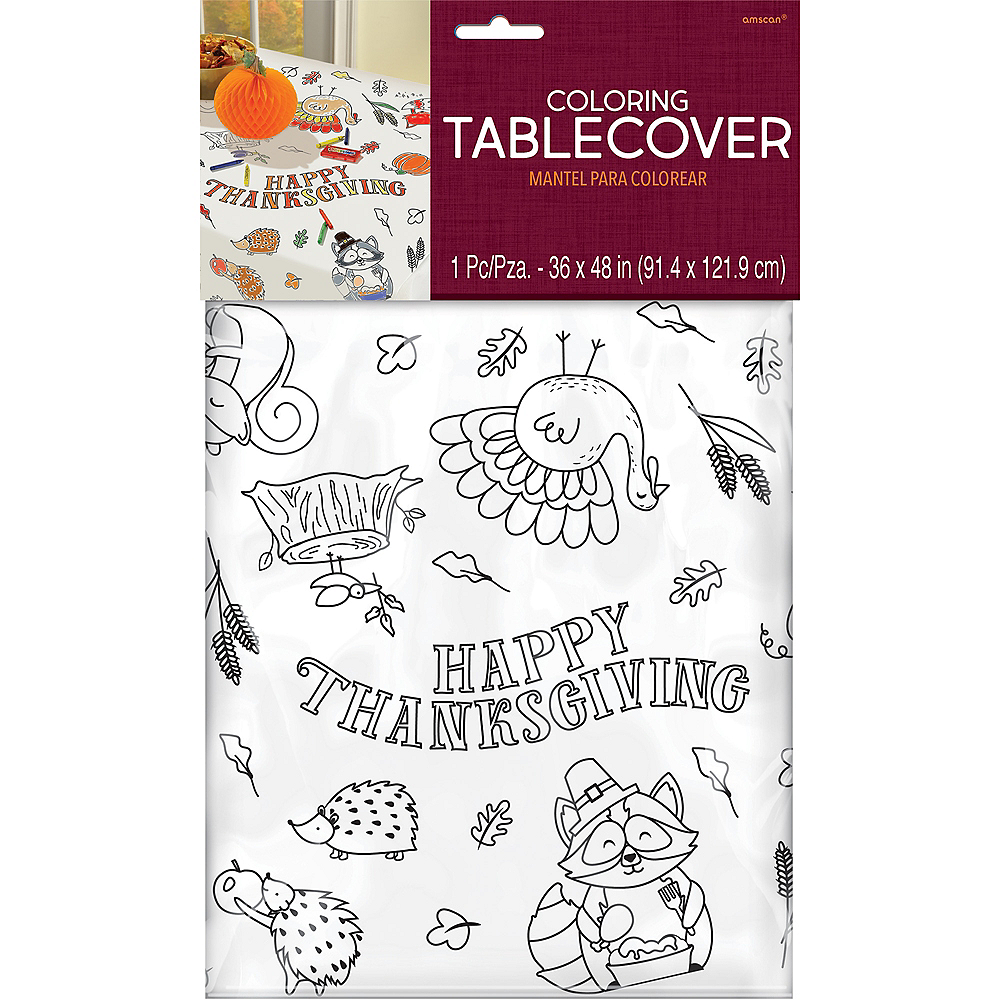Coloring Thanksgiving Paper Table Cover Image #2