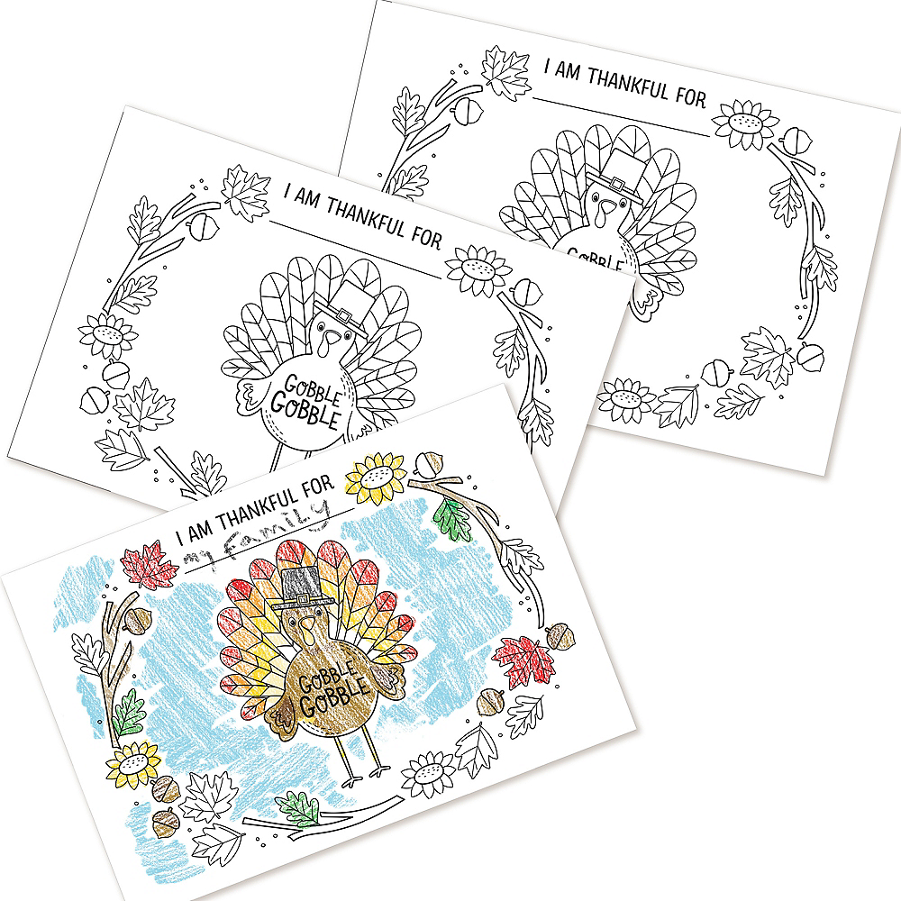 Thanksgiving Coloring Paper Plates Image #1