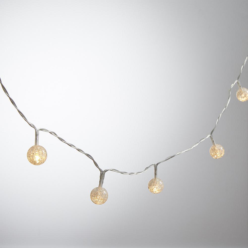 Mini White Crackle Globe LED String Lights Image #1