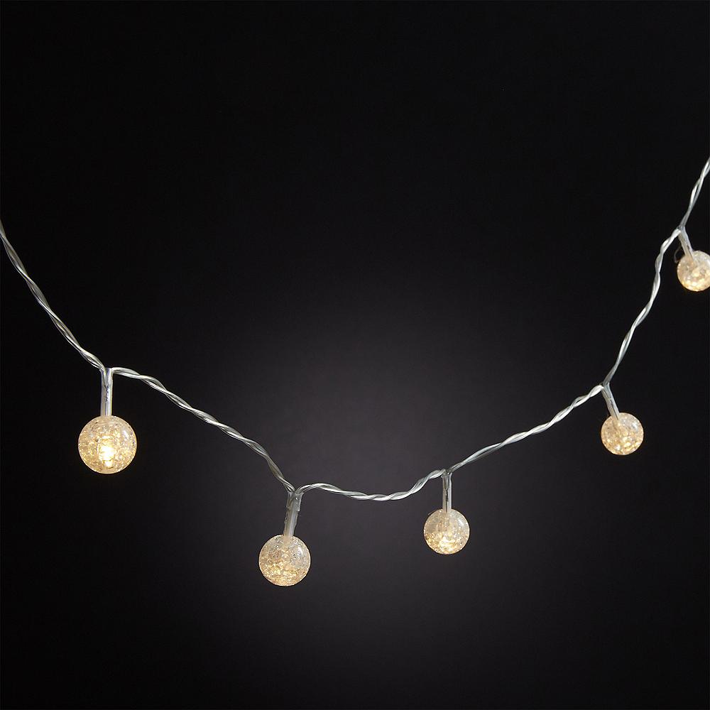 Mini White Crackle Globe LED String Lights Image #2