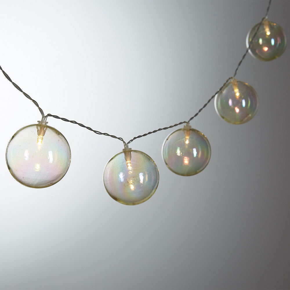 Iridescent Globe Led String Lights 6ft