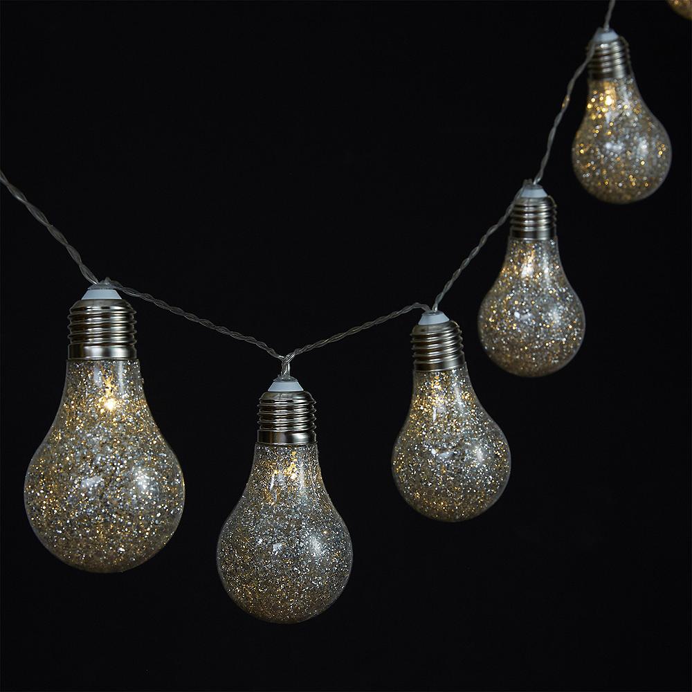 Glitter Edison Lightbulb LED String Lights Image #2